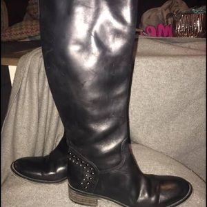 Studded accent leather boot